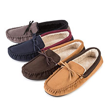totes Mens Suedette Moccasin Slippers