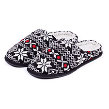 totes Mens Fair Isle Mule Slippers