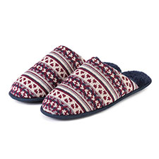 totes Mens Fair Isle Knit Mule Slippers