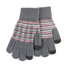 totes Ladies Original Smartouch Gloves Pink Stripe