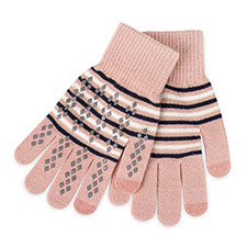totes Ladies Original Smartouch Glove Pink Stripe
