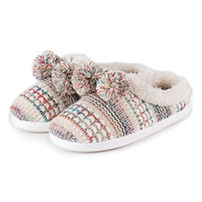 totes Ladies Bright Knit Mule Slippers