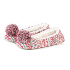 totes Ladies Knit Pom Pom Ballet Slippers