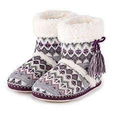 totes Ladies Fair Isle Bootie Slippers