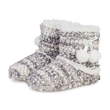 totes Ladies Bobble Knit Bootie Slipper