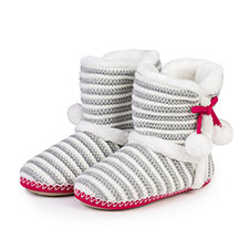 totes Ladies Sparkle Stripe Knit Booties