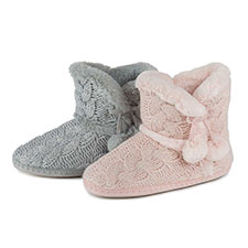 totes Ladies Cable Knit Boot Slippers