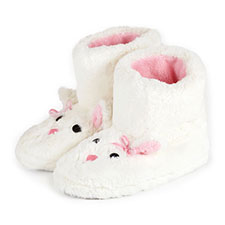 totes Ladies Furry Rabbit Bootie Slippers