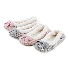 totes Ladies Waffle Knit Ballet Slippers