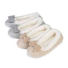 totes Ladies Lurex Sparkle Knit Ballet Slippers