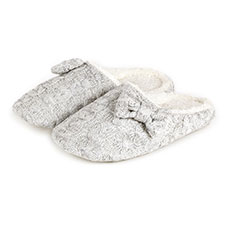 totes Ladies Grey Lurex Mule Slippers