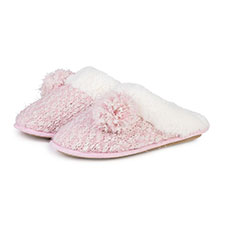 totes Ladies Knit Pom Pom Mule Slippers