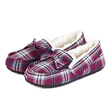 totes Ladies Tartan Moccasin Slippers