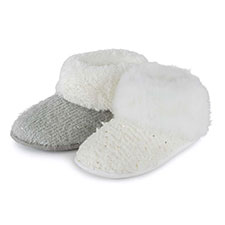 totes Ladies Lurex Sequin Knit Boot Slippers