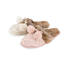 totes Ladies Cable Knit Mule Slippers