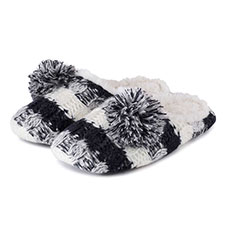 totes Ladies Stripe Knit Mule Slippers