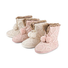 totes Ladies Cable Knit Booties