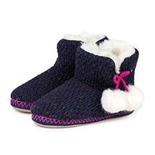 totes Ladies Chunky Knit Bootie Slipper