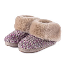 totes Ladies Lurex Knit Boot Slippers