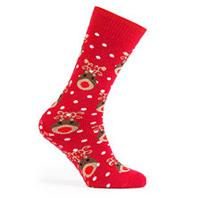totes toasties Ladies Original Slipper Socks (Twin Pack) Reindeer and Robin