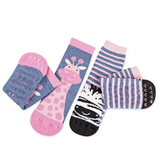totes toasties Kids Tots Slipper Socks (Twin Pack) Giraffe & Zebra