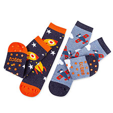 totes toasties Kids Tots Slipper Socks (Twin Pack) Rocket & Aeroplane