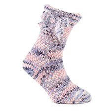 totes toasties Ladies Chunky Knitted Slipper Sock Pink Multi