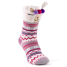 totes toasties Ladies Novelty Chunky Slipper Sock Llama