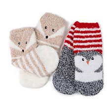 totes toasties Unisex Childrens Novelty Socks (Twin Pack) Penguin/Fox