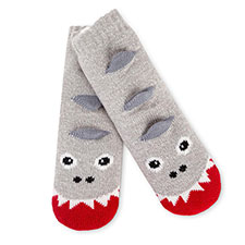 totes toasties Childrens Novelty Chunky Slipper Socks Grey Monster