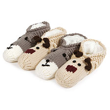 totes Ladies Novelty Hand Knit Footsie Slipper Socks