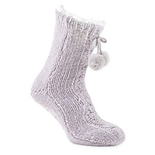 totes toasties Ladies Chenille Cable Slipper Socks Grey