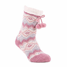 totes toasties Ladies Chenille Cable Slipper Socks Pink Multi