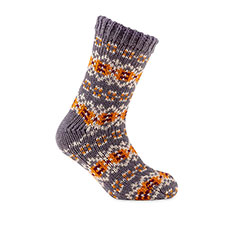 totes toasties Mens Chunky Fair Isle/Chenille Socks Mustard Fairisle