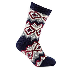 totes toasties Mens Chunky Fair Isle/Chenille Socks Navy Fairisle