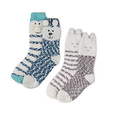 totes Ladies Cosy & Popcorn Socks (Twin Pack)