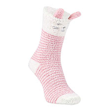 totes toasties Ladies Twin Novelty Supersoft Socks Pink Rabbit