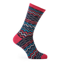 totes toasties Mens Cracker Socks  Stag/Stripe Red