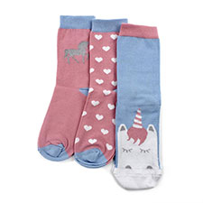 totes toasties Ladies Ankle Socks (Triple Pack) Pink Unicorn