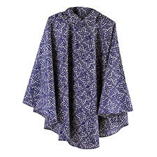 totes Fabric Poncho With Separate Pocket Navy Batik Print