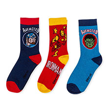 Children's Avengers Triple Pack Socks Navy/Blue/Red