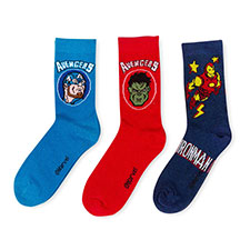 Children's Avengers Triple Pack Socks Red/Navy/Blue