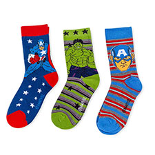 Children's Avengers Triple Pack Socks Navy/Green/Blue
