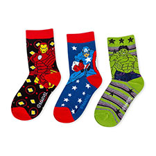 Children's Avengers Triple Pack Socks Black/Green/Blue