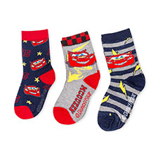 Children's Cars Triple Pack Socks Red/Grey