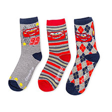 Children's Cars Triple Pack Socks Navy/Grey