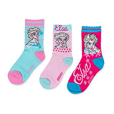 Children's Frozen Triple Pack Socks Turqouise/Light Pink/Pink