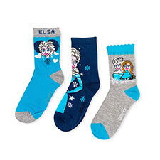 Children's Frozen Triple Pack Socks Navy/Blue/Grey