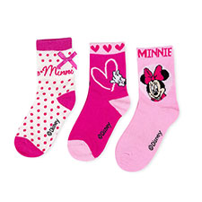 Children's Minnie Mouse Triple Pack Socks Pink/Cream Spot
