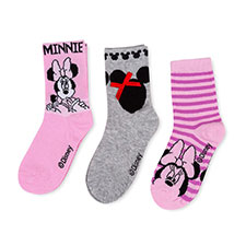 Children's Minnie Mouse Triple Pack Socks Pink/Grey